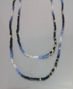 White and Blue Sapphire/Gold Pyrite Necklace