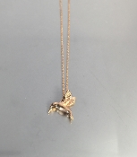 14 Karat Rose Gold Black Diamond Hummingbird Necklace