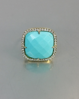 14 Karat Yellow Gold Turquoise Diamond Ring (0.50ct)