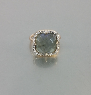 14 Karat Rose Gold Labradorite Diamond Ring (0.35ct)