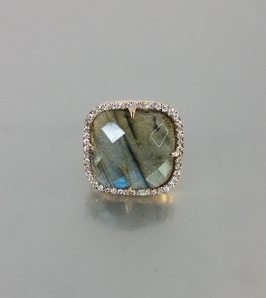 14 Karat Rose Gold Labradorite Diamond Ring (0.50ct)
