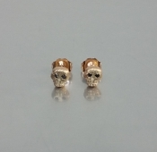 14 Karat Rose Gold Black Diamond Skull Earrings