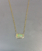 14 Karat Yellow Gold Ethiopian Opal Diamond Necklace