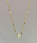 14 Karat Yellow Gold Diamond Triangle Necklace (0.10ct)