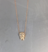 14 Karat Rose Gold Diamond Skull Necklace