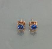 14 Karat Rose Gold Blue Sapphire Stud Earrings (0.57ct)
