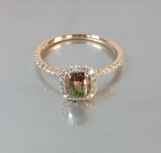 14 Karat Rose Gold Watermelon Tourmaline Ring