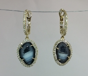 14 Karat Yellow Gold Geode Diamond Earrings (0.35ct)