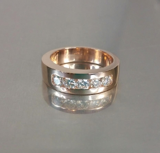 14 Karat Rose Gold Channel Set Diamond Band