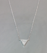 14K White Gold Triangle Diamond Necklace 0.10ct