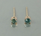 14 Karat Rose Gold Blue Diamond Earrings (0.18ct)