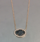 14 Karat Rose Gold Diamond Trilobite Fossil Necklace (0.12ct)
