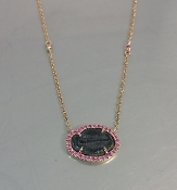 14 Karat Rose Gold Pink Sapp. Trilobite Fossil Necklace (0.18ct)