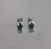 14 Karat White Gold Black Diamond Stud Earrings (1.35ct)