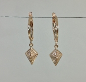 14 Karat Rose Gold Diamond Dangling Earrings