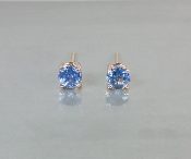 14 Karat Rose Gold Ceylon Blue Sapphire Earrings (1.02ct)