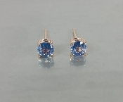 14 Karat Rose Gold Ceylon Blue Sapphire Earrings (1.17ct)