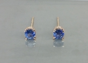 14 Karat Rose Gold Ceylon Blue Sapphire Earrings (0.64ct)