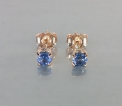14 Karat Rose Gold Ceylon Blue Sapphire Earrings (0.75ct)