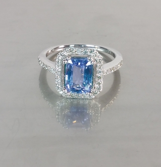 14 Karat White Gold Ceylon Blue Sapphire Diamond Ring