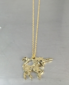 14 Karat Yellow Gold Black Diamond Unicorn Necklace