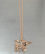 14K Rose Gold Black Diamond Unicorn Necklace