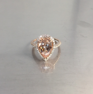 14 Karat Rose Gold Morganite Diamond Ring (0.30ct)