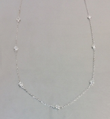 14 Karat White Gold Diamond By The Yard Necklace (0.82ct) 4mm