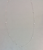 14 Karat White Gold Diamond By The Yard Necklace (0.30ct) 3mm