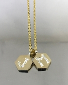 14 Karat Yellow Gold Diamond Honeycomb Love Initials Necklace