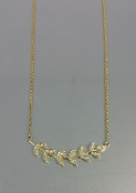 14 Karat Yellow Gold Diamond Fern Necklace