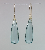 Aqua Quartz Earrings-(10x30mm)