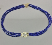 14 Karat Yellow Gold Honeycomb Diamond Lapis Choker (0.20ct)