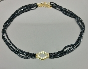 14 Karat Yellow Gold Honeycomb Dia. Black Spinel Choker (0.20ct)