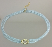 14 Karat Yellow Gold Honeycomb Dia. Aquamarine Choker (0.20ct)