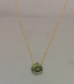 14 Karat Yellow Gold Green Moss Aquamarine Necklace
