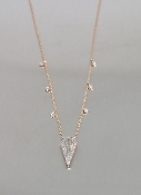 14K Rose Gold Blue Topaz Diamond Necklace 0.81ct/0.05ct
