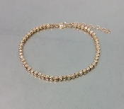 14 Karat Rose Gold Twist Diamond Cut Ball Bead Bracelet (3mm)