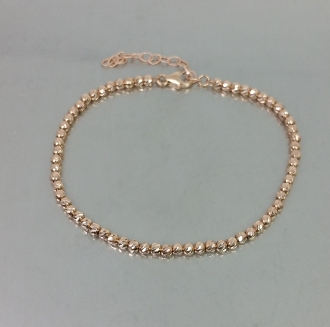 14 Karat Rose Gold Twist Diamond Cut Ball Bead Bracelet (2.6mm)