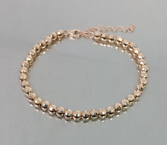 14 Karat Rose Gold Diamond Cut Disco Ball Bead Bracelet (4mm)
