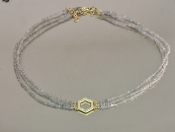 14 Karat Yellow Gold Honeycomb Dia. Labradorite Choker (0.20ct)