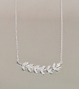 14 Karat White Gold Diamond Fern Necklace