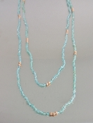 14 Karat Rose Gold Aquamarine Necklace (2.8mm)