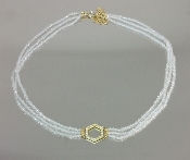 14 Karat Yellow Gold Honeycomb Dia. White Topaz Choker (0.20ct)