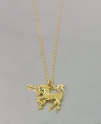 Black Diamond Unicorn Necklace (18KGP)