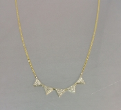 14 Karat Yellow Gold Multi Triangle Diamond Necklace (0.28ct)