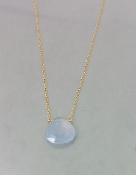 Blue Chalcedony Necklace (10x10mm)