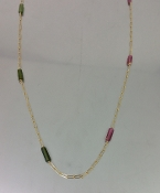 14 Karat Yellow Gold Color Tourmaline Long Necklace