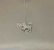 14 Karat White Gold Black Diamond Unicorn Necklace