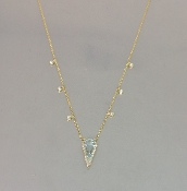 14 Karat Yellow Gold Blue Topaz Diamond Necklace (0.05ct)